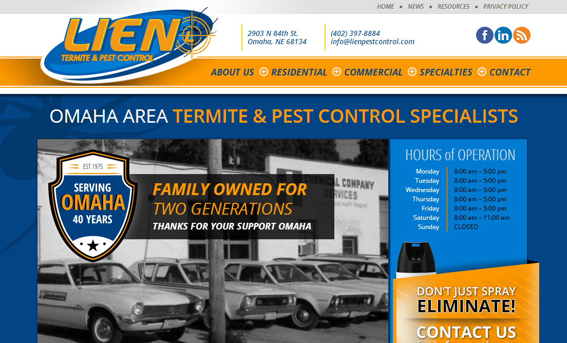 Website Design example by Mosaic Visuals Design in Omaha, NE for Lien Termite & Pest Control