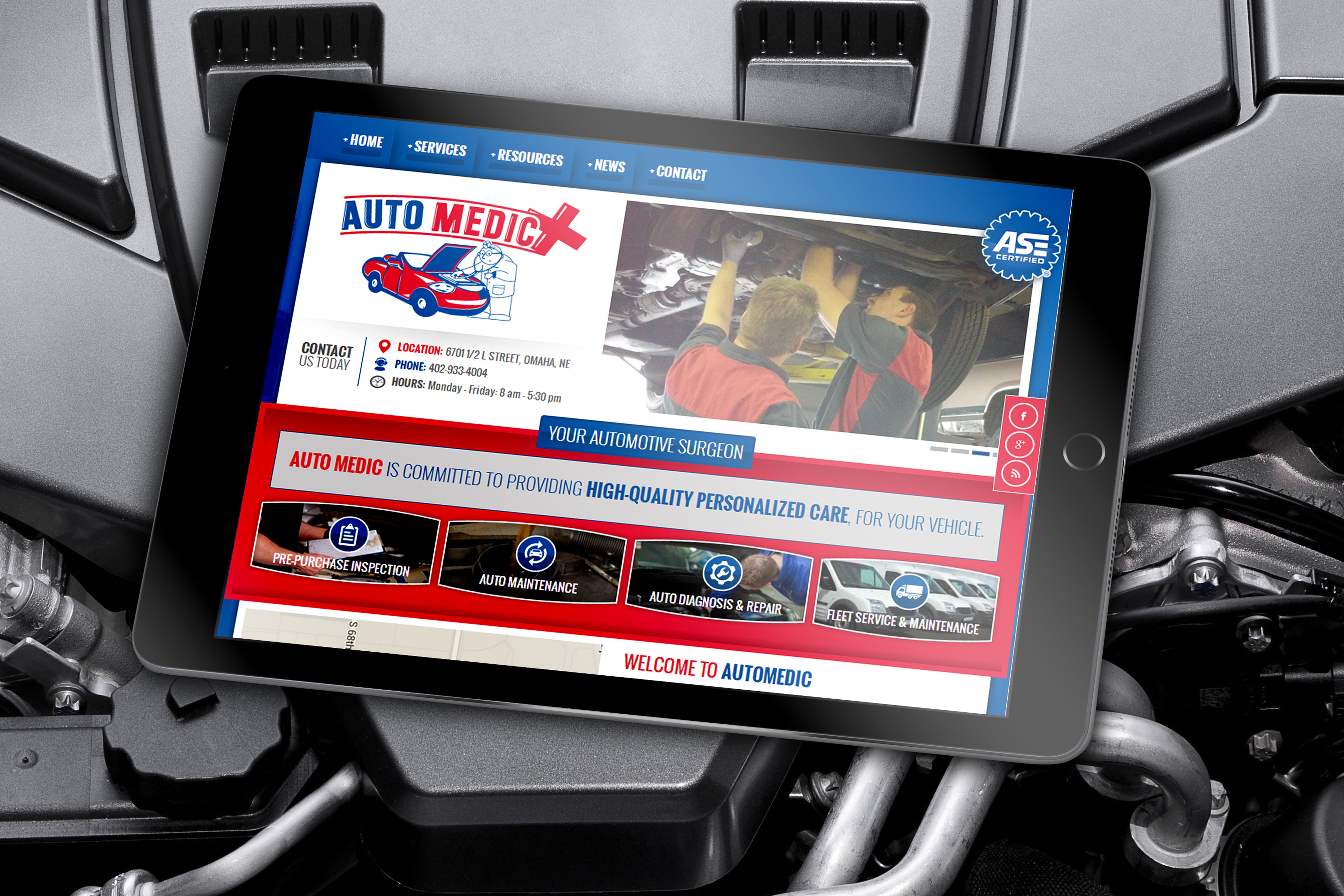 Website Design example by Mosaic Visuals Design in Omaha, NE for Auto Medic