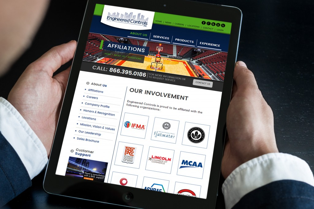 Website Design example by Mosaic Visuals Design in Omaha, NE for Engineered Controls, Inc.